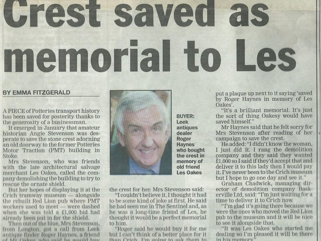 Crest Saved As Memorial To Les